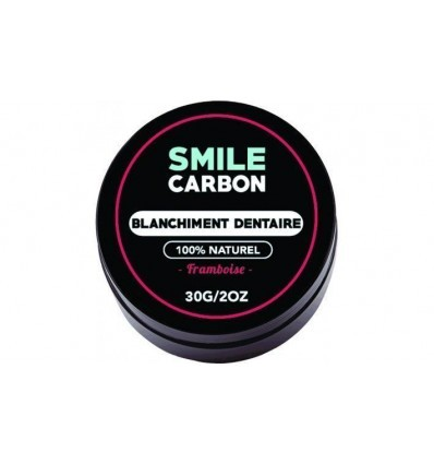 Charbon Actif - Blanchisseur de dents naturel Goût Framboise 30gr - SMILE Carbon